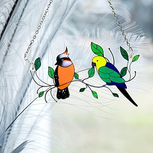 Mini Gebeizte Vogel Fenster Hängen Sonnenfänger, Glasmalerei Vögel Fenster Behänge Große Platte, Bird Series Ornamente Anhänger Wohnkultur (A-1 pc)