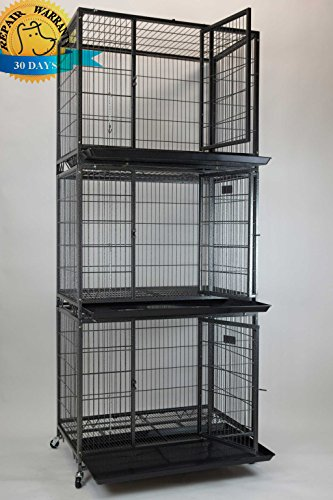 """Homey Pet New 37"""" Stackable Open Top Heavy Duty Dog Pet Cage Kennel w/Tray, Floor Grid, and Casters (3 Tiers)"""