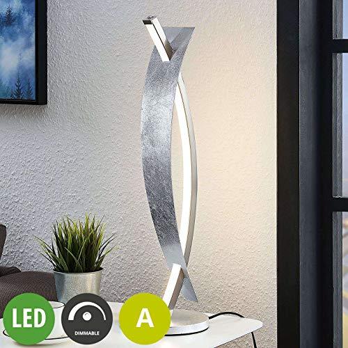 Lucande LED Tischlampe 'Marija' dimmbar (Modern) in Chrom aus Metall u.a. für Wohnzimmer & Esszimmer (A, inkl. Leuchtmittel) - Tischleuchte, Schreibtischlampe, Nachttischlampe, Wohnzimmerlampe