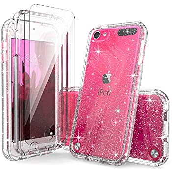 iPod Touch 7th Generation Case Clear Glitter for Girls IDYStar 2 in 1 Shockproof Case with 2 HD Screen Protectors Hybrid Heavy Duty Protection Cover for iPod Touch 5/6/7th Generation Glitter Clear
