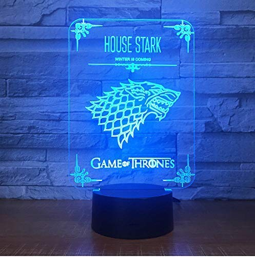 Lámpara de mesa 3D Juego de tronos Ilusión acrílica Lámpara 3D Led 7 colores que cambian USB Lámpara de escritorio táctil Regalo de cumpleaños para niños