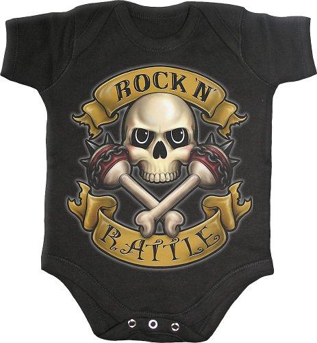 Spiral ROCK N Rattle Body Bébé gothique, motard style - Noir, M