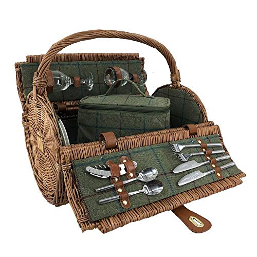 2 Groene Persoon Tweed Barrel rieten picknickmand