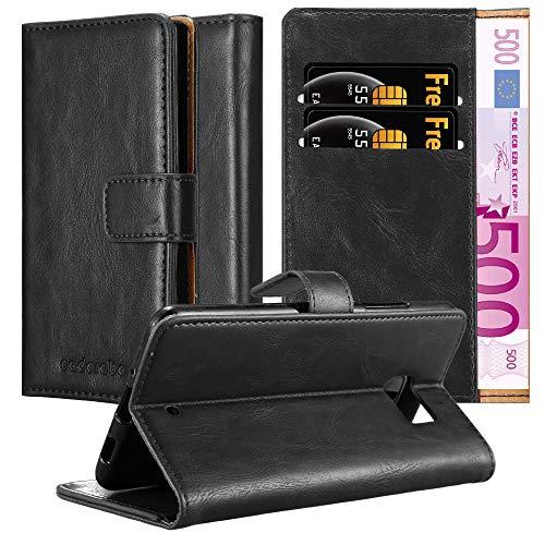 Cadorabo Hülle für HTC U Ultra - Hülle in Graphit SCHWARZ – Handyhülle im Luxury Design mit Kartenfach & Standfunktion - Hülle Cover Schutzhülle Etui Tasche Book