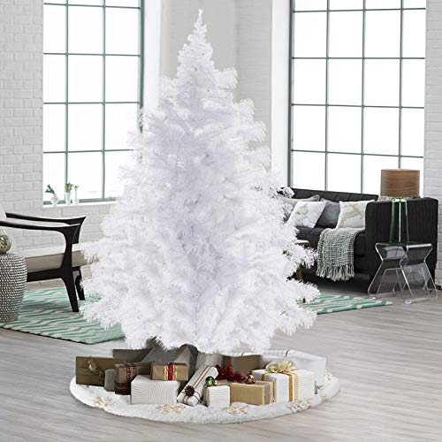 xiannv 6/7 Foot Pine Berries Artificial Christmas Tree Snow Flocked Artificial Holiday Christmas Pine Tree White Christmas Tree Spruce Tree for Home Office Party Xmas Decor