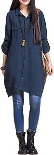 Romacci Women Button Down Long Blouse Casual Cotton Linen Plus Size Top Shirt