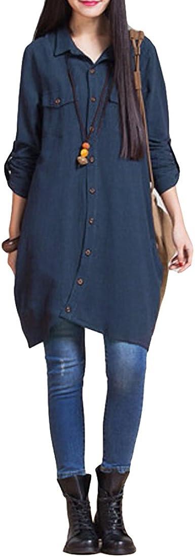 Romacci Vestido Largo de Mujer Vestido Suelto Blusa Botones de Dobladillo Irregular Blanco/Morado/Azul Oscuro