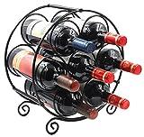 PAG 7 Bottles Free Standing Countertop Metal Wine Rack Tabletop Wine Storage Holders Stands, Black