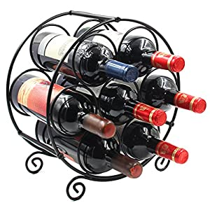 PAG 7 Bottles Freestanding Countertop Metal Wine Rack Small Wine Bottle...