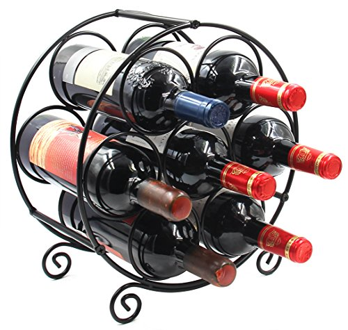PAG 7 Bottles Free Standing Countertop Metal Wine Rack Tabletop Wine Storage Holders Stands Black