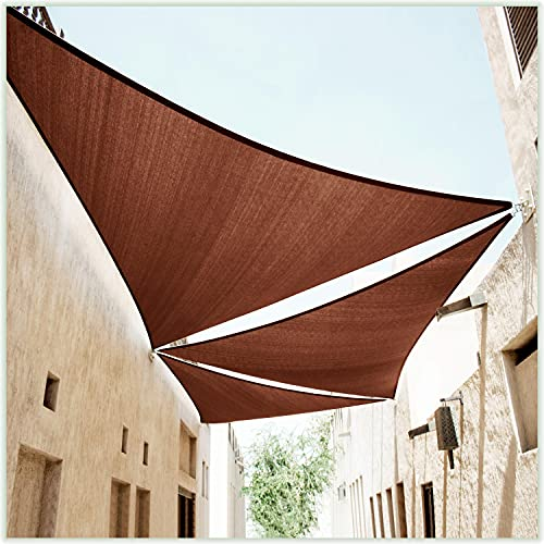 ColourTree 24' x 24' x 24' Brown Triangle Sun Shade Sail Canopy Awning Shelter Fabric Cloth Screen - UV Block UV Resistant Heavy Duty Commercial Grade - Outdoor Patio Carport - (We Make Custom Size)
