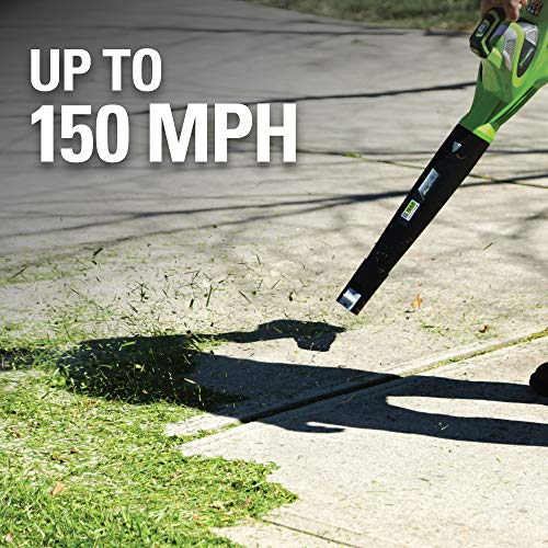 Greenworks 40V 150 MPH Variable Speed Cordless Leaf Blower, 2.0Ah Battery and Charger Included, 24252