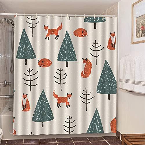 XCBN Cortina de baño con Estampado de expresión Emocional, Cortinas de Ducha de Bulldog de Dibujos Animados, Tela Impermeable, Tela de Pantalla de baño A22 90x180cm