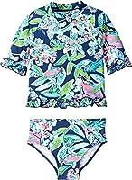 Lilly Pulitzer Kids Girl's UPF 50+ Clara Rashguard Swimsuit (Toddler/Little Kids/Big Kids) Deep Sea Navy Sway This Way Swim 8 Big Kids