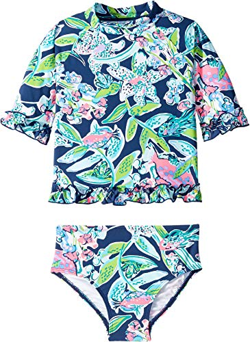 Lilly Pulitzer Kids Girl's UPF 50+ Clara Rashguard Swimsuit (Toddler/Little Kids/Big Kids) Deep Sea Navy Sway This Way Swim 7 Big Kids