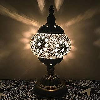 StAuoPK Lámpara de Mesa LED de Estilo étnico Vintage, Dormitorio Sala de Estar Estudio Den lámpara de Mesa de Flores exóticas (Interruptor de botón),C