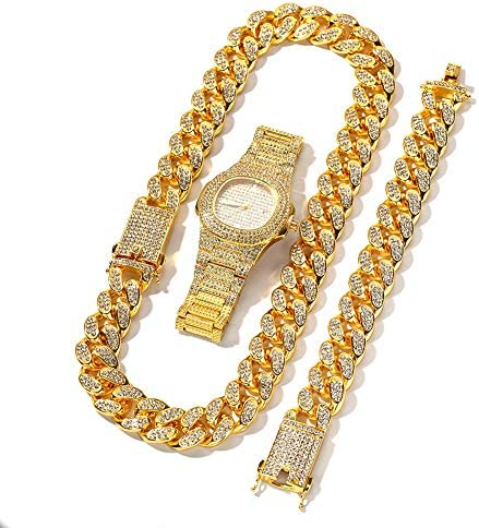 Moca Jewelry Hip Hop Iced Out Bling Necklace Bracelet Watch Set Fully Diamond Crystal Paved product image