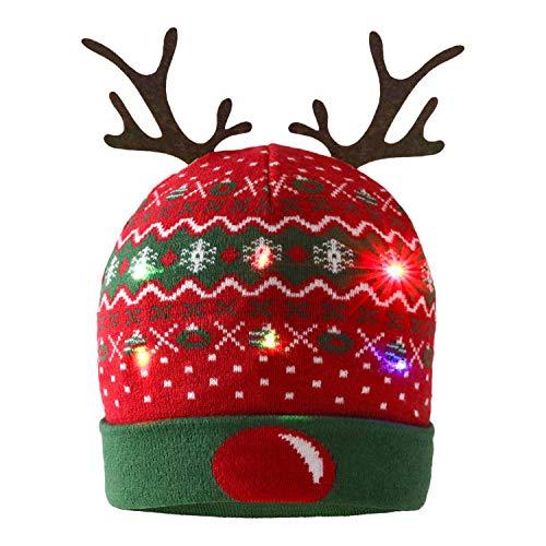 ZOYLINK LED Weihnachten Strickmütze Beanie Hat dekorative Geweih Strickmütze Wintermütze warme Mütze