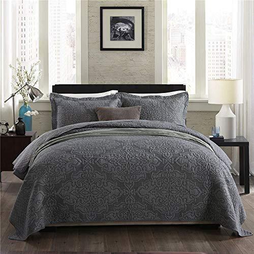 Superweiche Tagesdecken Bettdecke Einfarbige Stickerei 100prozent Baumwolle Gesteppte Steppdecke Überwurf 3-teilige Bettdekoration Multifunktionsdecke / Bettdecke + 2 Kissenbezug, Gray-King: 240x270cm + 50x