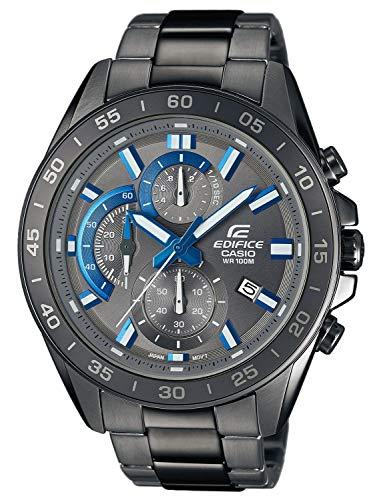 Casio EDIFICE Reloj en caja sólida, 10 BAR, Negro/Azul, para Hombre, con Correa de Acero inoxidable, EFV-550GY-8AVUEF