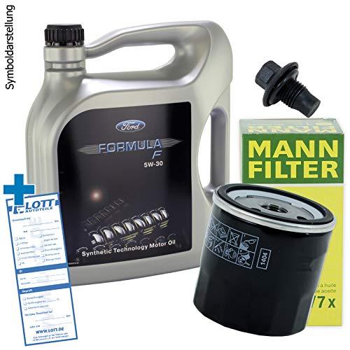 Ölwechsel Set Inspektion 5 Liter Formula F Motoröl 5W-30 Motorenöl + MANN Ölfilter + Öl Ablassschraube Verschlussschraube