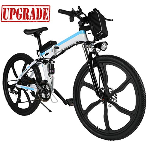 Aceshin 26 inch Electric Bike Folding Electric Mountain Bike with Removable 36V 8AH Lithium-Ion Battery 250W Motor 21 Speed Gear (White)