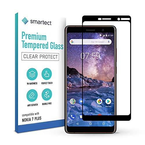 smartect Schutzglas kompatibel mit Nokia 7 Plus [FULL ] - Tempered Glass mit 9H Festigkeit - Schutzfolie bedeckt ganzes Bildschirm komplett Full Cover