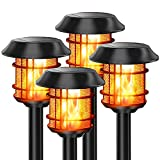 Balhvit 4 Pack Solar Lights Outdoor Decorative, 4 in 1 Waterproof Flickering Flame Landscape Lighting Solar Torch Lights, Up to 12 Hrs Long Solar Garden Pathway Lights for Patio Yard Pool-Auto On/Off