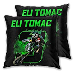 ❋ Material --- This Eli Tomac 3 Motocross And Supercross Pillow Covers Is 100% High Quality Breathable Polyester,durable Fabriccomfortable And Soft Touch,No Fading Or Fraying Issue. ❋ Child And Pet Friendly --- There Is No Stimulation To The Skin.Don...
