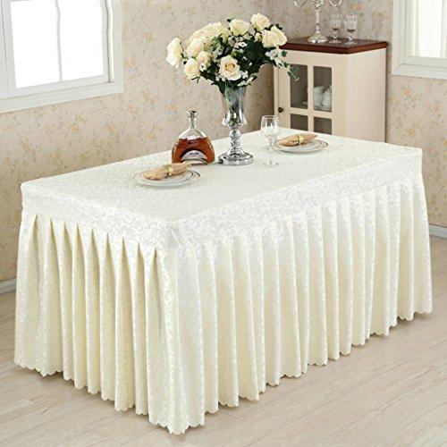 Nappe de Cuisine Fitted Table Skirt Cover Wedding Banquet with Top Topper Nappe-Rigide-Blanc Crochet Fleurs (Couleur : Crémeux-Blanc, Taille : 60 * 160 * 75CM)