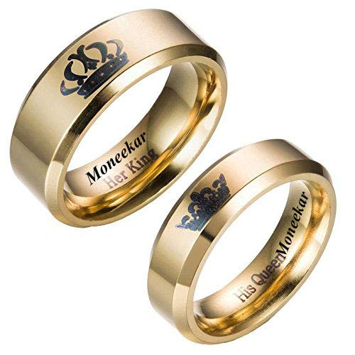 wels 2pcs Her King/His Queen Titanium Stainless Steel 14K Gold Plated Promise Band Ring Set Anniversary Engagement Couple Rings for Lovers