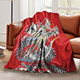 Ultra-Soft Flannel Blanket Red Chinese Dragon Art Throw Blankets Warm Fuzzy Plush Blanket for Boys Girls Bed Blanket for Crib Couch Chair Living Room Home Travel 50'X40' for Kids Baby