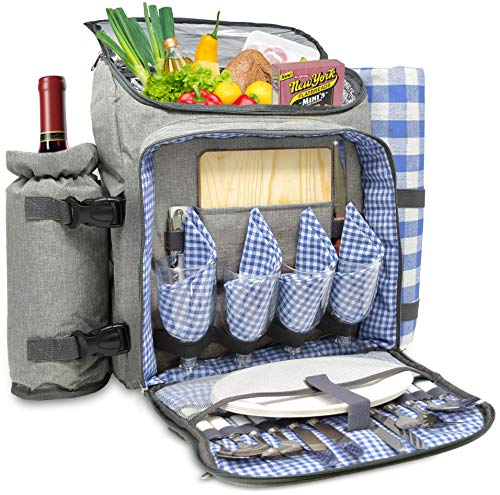 Nature Gear XL Picnic Backpack - Classic 4 Person Insulated Design - Waterproof Blanket and Full Cutlery Set Blue