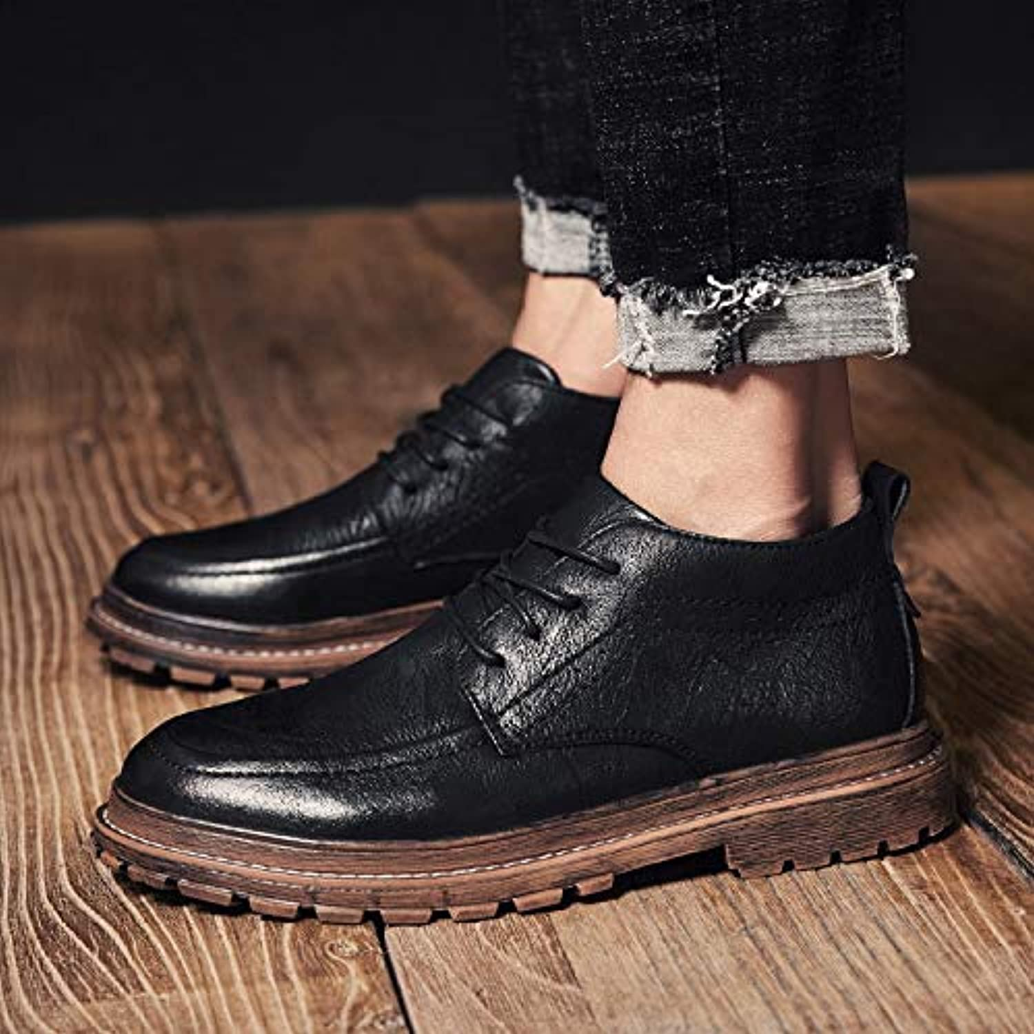 LOVDRAM Men'S shoes Autumn And Winter Men'S shoes High-Top shoes Men'S Wild Casual Fashion Retro Martin Boots