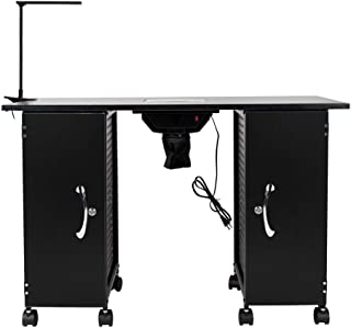Manicure Nail table Station,Nail Beauty Spa Salon Desk Workstation with Electric Downdraft Vent, 2 Large Cabinets, 8 Locking Casters and LED Lamp,Black
