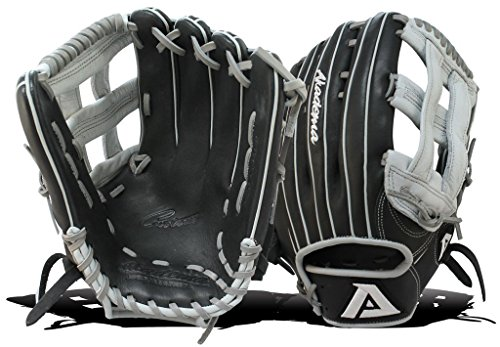 Akadema Prosoft Elite Series Baseball Outfielders Gloves, Black/Silver, Left Hand, 12.75 Inches