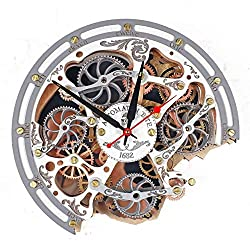 Automaton Bite 1682 White Gray Wall Clock, Handcrafted Steampunk Decor, Mechanical moving Gears, Wooden Home Kitchen Living Room and Office interior design, Personalized Decorative Art, Custom Gift