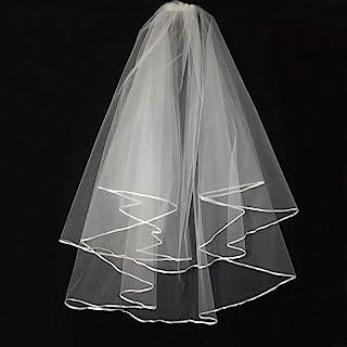 Wedding Veil White,2 Tier Ribbon Edge Center Cascade Bridal Wedding Veil with Comb By Korty