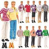 Miunana Lot 8 Items Doll Clothes for Ken Doll Include Random 3 pcs Casual Wear + 3 Pcs Dolls Pants +2 Shoes