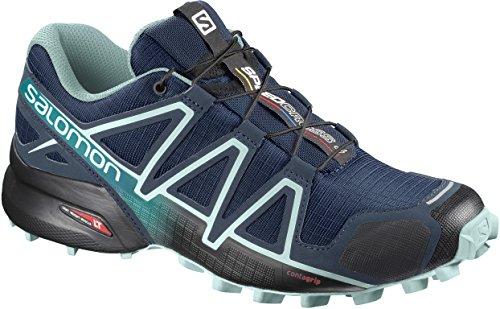 Salomon Women's Speedcross 4 Trail Running Shoes, Poseidon/Eggshell Blue/Black, 8