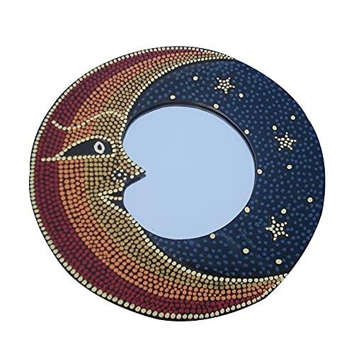 Hosoncovy Tapiz decorativo de pared con espejo de sol y luna, decoración de pared para pasillo, espejo para dormitorio, salón, baño, pasillo (luna)