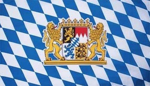 Fanshop Lünen Fahne - Flagge - Hißfahne - Bayern mit Löwen - Staatswappen - 90x150 cm - Hissfahne - Wappen -