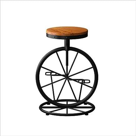 MYS C-K-P Retro-Bar Retro-Bar Retro-Bar Stuhl Massivholz Sitz Schmiedeeisen Kreative Radform Industrielle Stil komfortabel und langlebig B07H12X7GJ | Sale Düsseldorf  dbe541