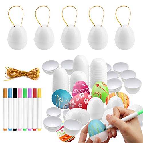 GP Life 20PCS White Plastic Easter Eggs Fillable Easter Egg Ornaments for Tree, Easter Hunt, Easter Basket Stuffers with 8 Color Pens