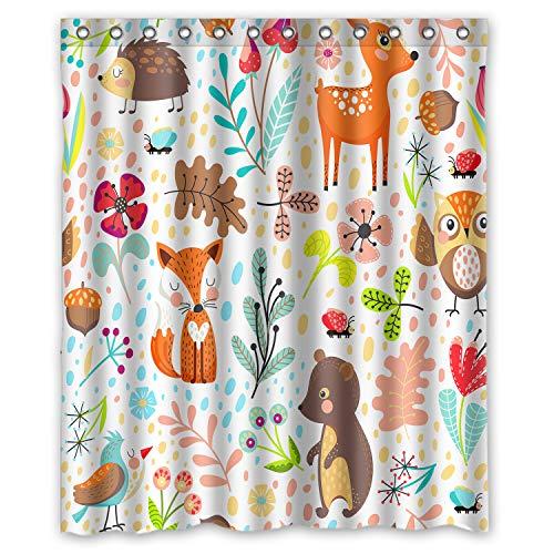 FMSHPON Duschvorhang mit Cartoon-Waldtieren, bunte Pflanzen, Blumen, süßer Igel, Fuchs, Eule, Kinderthema, Polyester-Stoff, 152 x 183 cm