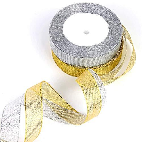 Febbya Organzaband, 22 Meter 20mm Geschenkband 2 Stück Glitter Shiny Ribbons Breit für Geschenkpapier Nach Hause Dekorative Karte Machen Handwerk Scrapbooking