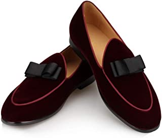Black Velvet Leather Genuine Loafers Men Slippers Bow Tie Moccasins Man Flats Wedding Men's Dress Shoes Casual Slip on