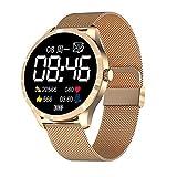 QFSLR Smartwatch Relojes Inteligentes Reloj Inteligente con Pulsómetro, Ciclo Menstrual Femenino Monitor De Presión Arterial Monitoreo De Oxígeno En Sangre Reloj Deportivo,Oro