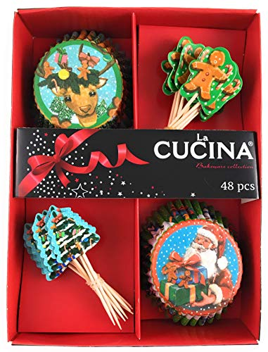 Unbekannt 48-teiliges Muffin Cupcake Deko Back Set Weihnachten, X-Mas Motive Rentier, Nikolaus, Lebkuchenmann Tanne