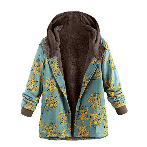 iHENGH Damen Herbst Winter Bequem Lässig Mode Frauen Womens Winter Warm Outwear Blumendruck Mit Kapuze Taschen Vintage Oversize Mäntel(Grün, L)
